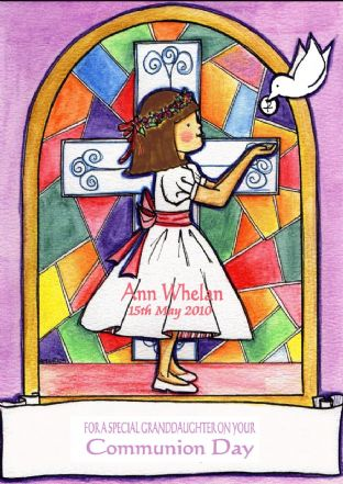 Personalised Girl & Cross Communion Card